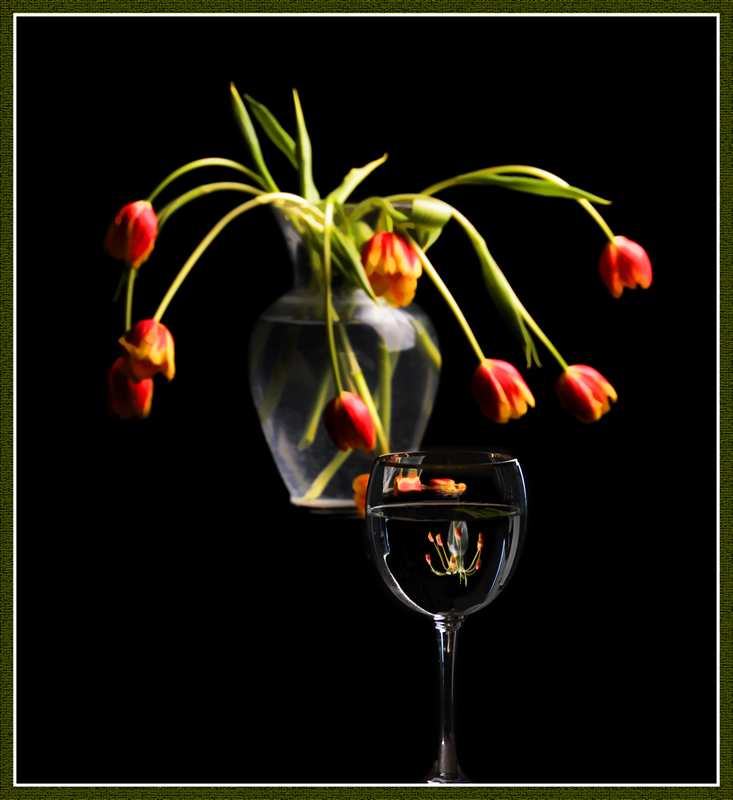 Flower Reflections in Wineglass by Pat